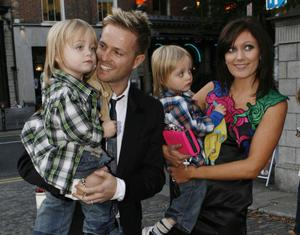 Nicky Byrne and Georgina Ahern with their Twins Jay and Rocco  at Bertie Ahern's  Book Launch in the Mansion House ...KOB,,,8/10/9