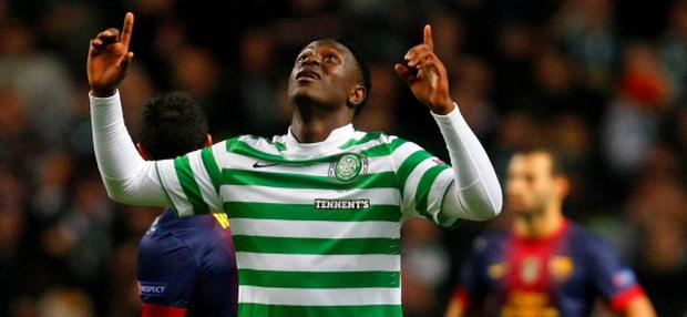 Celtic's Victor Wanyama celebrates scoring a goal during their Champions League soccer match against Barcelona at Celtic Park stadium in Glasgow, Scotland November 7, 2012. REUTERS/David Moir (BRITAIN - Tags: SPORT SOCCER)