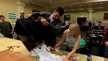 Counting of votes begins in the City West Conference Centre, in Dublin. Photo: PA