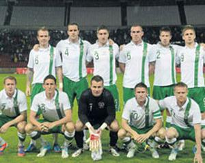 THE BOYS IN GREEN: The Republic of Ireland team, back row, from left, Glenn Whelan, John O'Shea, Stephen Ward, Richard Dunne, Sean St Ledger and Kevin Doyle. Front row, from left, Aiden McGeady, Keith Andrews, Shay Given, Robbie Keane and Damien Duff. The hopes and dreams of a nation will be focused on Poznan tonight when Ireland take on Croatia at 7.45pm