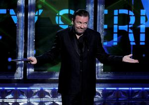 Ricky Gervais presents the award for outstanding variety, music or comedy series at the 64th Primetime Emmy Awards