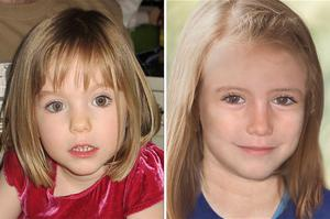Madeleine McCann in 2007 and as she might look aged 9