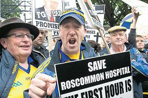 Robbie Dwyer protests against the closure of Roscommon A&E