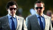 Rory McIlroy and Graeme McDowell of Europe walk to the stage during the Opening Ceremony for the 39th Ryder Cup. Photo: Getty Images