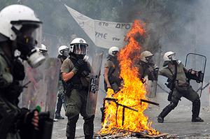 Riot police on the streets of Athens back in June. Photo: Getty Images