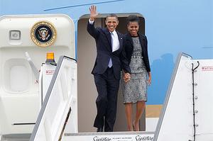President Obama arrives in Dublin Airport with his Wife Michelle ahead of their historic visit to Ireland in 2011. Photo: Kyran O'Brien