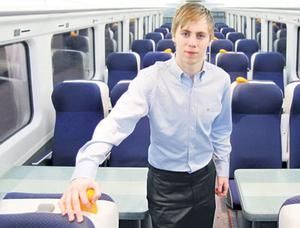 Craig Hughes of the 'Irish Independent' on board the littleused train
