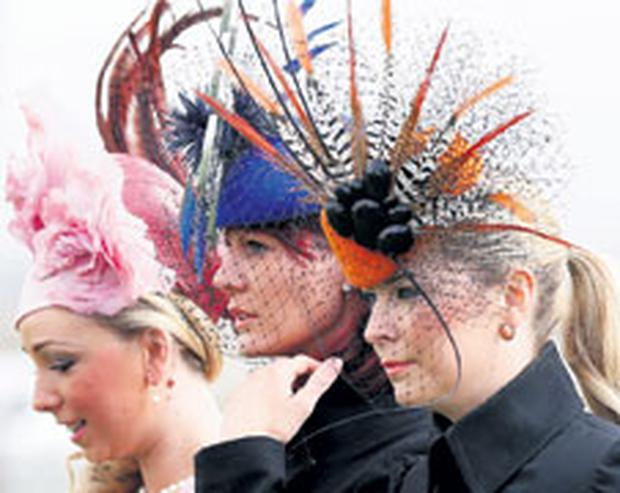 feathered friends at Ladies' Day on the second day of the Grand National meeting at Aintree, Liverpool, yesterday