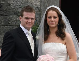 A stunning Aoife Quinn, daughter of Sean pictured with her new husband, Stephen Kelly at their wedding at St. Mary's church, Staghall, Belturbet, Co. Cavan on Friday afternoon.  Photo: Lorraine Teevan