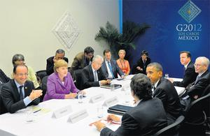 Leaders of the world's top 20 leading industrialised nations meet on the second day of their G20 summit in Los Cabos, Mexico yesterday