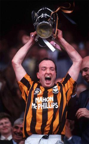 Eddie O' Connor , Kilkenny captain lifts the Liam McCarthy cup, Kilkenny v Galway, All Ireland Hurling Final, Croke Park, Dublin 5 September 1993.