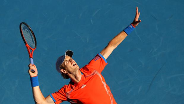 Andy Murray serves in his second round match against Edouard Roger-Vasselin. Photo: Getty Images