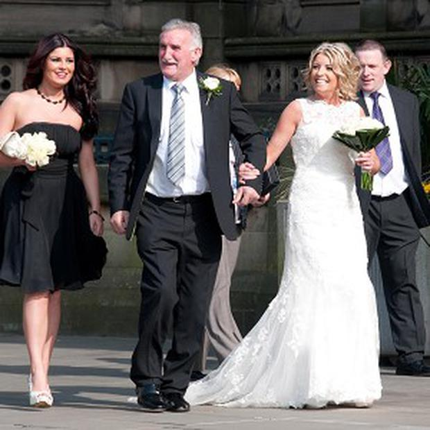 Frances Canning arrives for her wedding at Manchester Town Hall, where she also met the Queen during a Jubilee visit (Julian Sorfleet/PA)