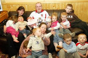 Mick Philpott with his wife Mairead and girlfriend Lisa Willis and some of their children