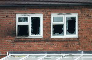 The scene in Victory Road, Allenton, Derby where five children died and two adults were taken to hospital