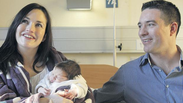 ROTUNDA, DUBLIN: Baby Amelie Rose with parents Catriona and Neil Mitchell. Photo:  JULIEN BEHAL