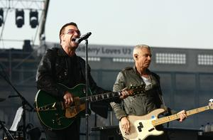 Bono and Adam Clayton from U2 perform at Croke Park on July 24, 2009 in Dublin. Photo: Getty Images