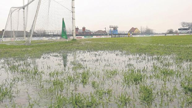 The waterlogged pitch at St Conleth's Park in Newbridge yesterday