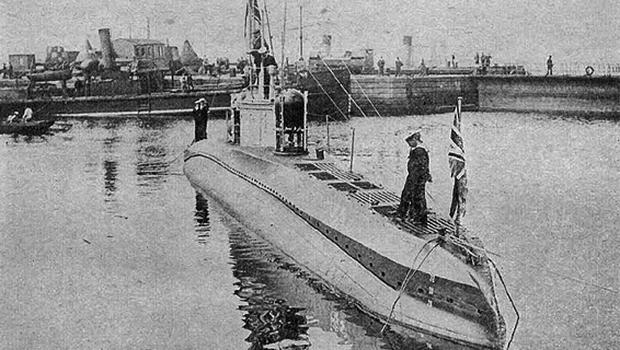 A German UC-type sub - seen here after being captured by the British Navy - similar to the one found wrecked in Cork Harbour
