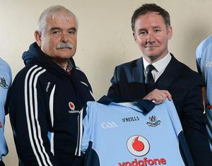 Dublin county board chairman Andy Kettle and Dublin football manager Jim Gavin at the launch of the new Dublin GAA jersey on December 5, 2012.