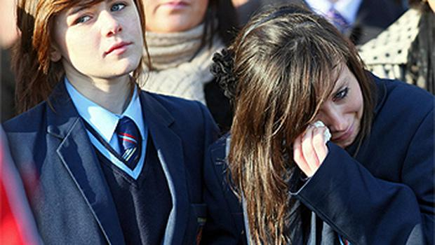 A schoolgirl from St Patrick's Academy, Dungannon, where Michaela taught, breaks down in tears