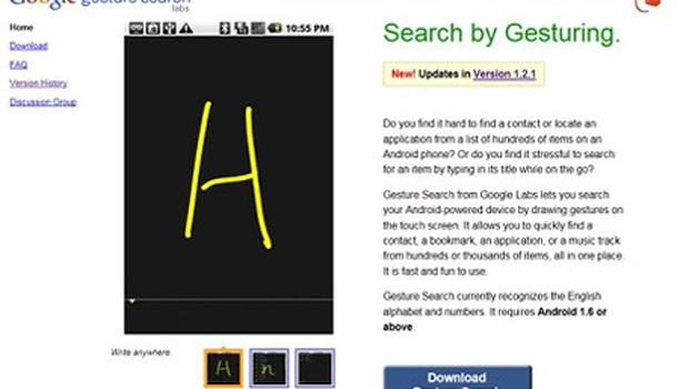 Google Gesture Search for Android allows instant access to information on your phone