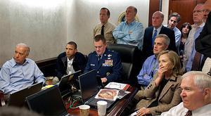 Vice President Joe Biden, left, President Barack Obama, second left, and Secretary of State Hillary Clinton, second right, along with with members of the national security team, watch the mission against Osama bin Laden unfold in the Situation Room of the White House. Photo: AP