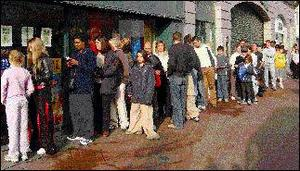 The queue outside Eason's on West Street on Saturday morning at 7.30am for the Harry Potter book. Picture: Paul Mohan.