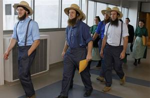 Members of the Amish community leave the US Federal Courthouse. Photo: AP