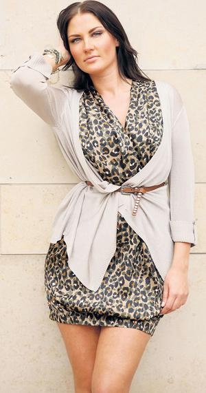 Gold shawl cardigan, €102, Episode; leopard-print dress, €180, Pied a Terre; brown waist belt, €14.50, Therapy; gold-and-beaded cuff (right arm), €72, Kenneth Cole;
