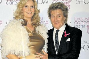 Here we go again: delighted eighth-time dad Rod Stewart (66) with wife Penny Lancaster
