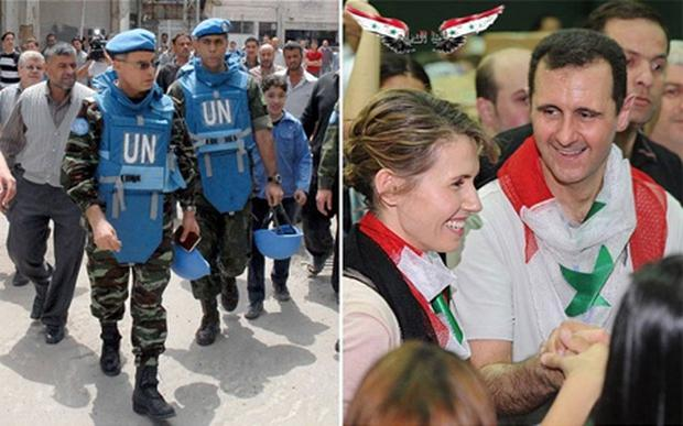 Colonel Himmiche, leader of the first UN monitoring team in Syria (left) and President Bashar al-Assad and his wife Asma helped out at a food distribution centre in Damascus. Photo: Reuters/AFP/Getty Images