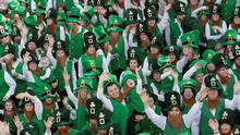 Some of the one thousand and twenty four leprechauns who attempted to break the Guinness World Record for the most leprechauns in one place in Glenties, Co. Donegal on St. Patrick's Day. 17.3.12Pic: Declan Doherty