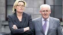 Philip Lynch, former chief executive of investment group One51, leaving an earlier court hearing this year with his daughter, Judith Whelan