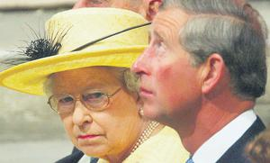 Prince Charles with his mother, Queen Elizabeth