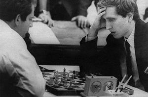 Under pressure: Bobby Fischer (right), an eight-time U.S. chess champion, ponders his next move against world champion Boris Spassky