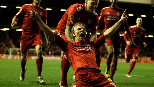 Liverpool's Dirk Kuyt celebrates scoring against Sparta Prague in the Europa League clash at Anfield last night - Liverpool won 1-0. Photo: Getty Images