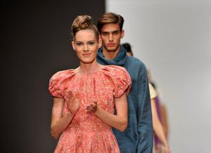 LONDON, ENGLAND - SEPTEMBER 16:  Models walk the runway during the Paul Costelloe show at London Fashion Week Spring/Summer 2012 on September 16, 2011 in London, United Kingdom.  (Photo by Gareth Cattermole/Getty Images)
