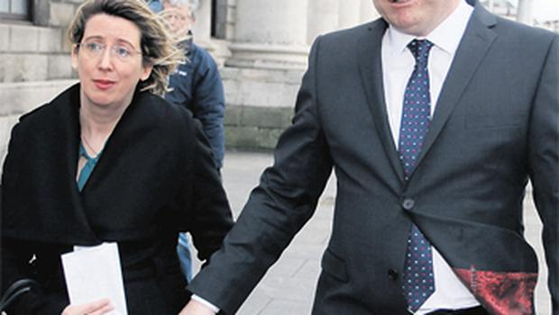Parents Jean and Stephen Nowlan outside the High Court, Dublin, yesterday after the hospital apologised for 'failures in the care of Pierce'.