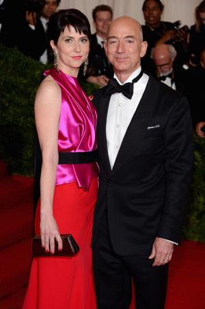 Jeff Bezos and his wife on the 2012 Met Gala red carpet