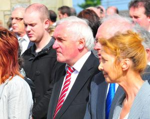Bertie Ahern at the funeral of Mary Coughlan's husband.