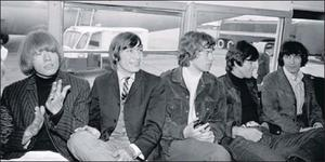 The Rolling Stones in an airport bus at Dublin Airport in September 1965: (from left) Brian Jones, Charlie Watts, Mick Jagger, Keith Richards and Bill Wyman.