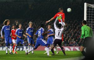 Javi Garcia of Benfica scores during the UEFA Champions League Quarter Final second leg match between Chelsea and Benfica at Stamford Bridge