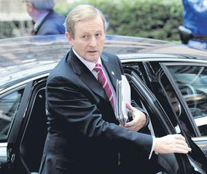 Taoiseach Enda Kenny arriving for the second day of the European Union summit in Brussels yesterday