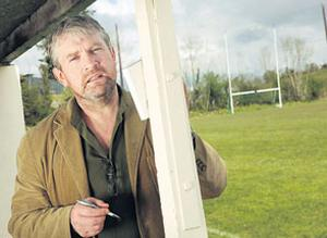 Seamus O'Rourke, now a poet and actor, at his GAA club in Carrigallen