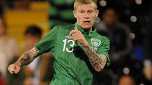 James McClean has a shot on goal against Oman during the International Friendly at Craven Cottage. Photo: PA
