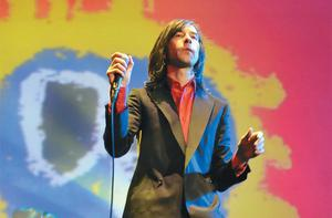'We'd never heard music like that before. I wasn't sure what to make of it' — Bobby Gillespie on stage to celebrate the 20th anniversary of 'Screamadelica', with the album's iconic cover image in the background