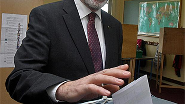 Sinn Fein President Gerry Adams casts his vote at Doolargy National School in Co Louth. Photo: PA