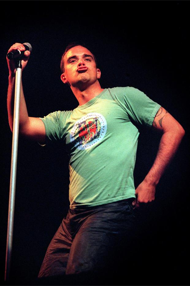 Robbie Williams got into the swing of things at Slane Castle in 1999. Photo: Steve Humphreys