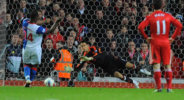 Stepping up to the plate: Brad Jones saves a Yakubu penalty Photo: Getty Images